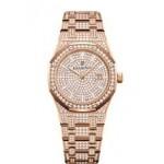 Audemars Piguet 33mm Rose Gold Pave Diamonds 67652OR.ZZ.1265OR.01 1ZELML - Beverly Hills Watch Company