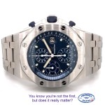 Audemars Piguet Royal Oak Offshore 42mm Stainless Steel Anniversary Blue Dial 26237ST.OO.1000ST.01 J7FXEC - Beverly Hills Watch Company