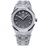 Audemars Piguet 33mm Royal Oak Frosted White Gold Ladies Quartz Black Dial 67653BC.GG.1263BC.02 - Beverly Hills Watch