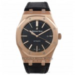 Audemars Piguet Royal Oak 37mm Rose Gold Black Dial 15450OR.OO.D002CR.01 1KPV2A - Beverly Hills Watch Company