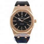 Audemars Piguet Royal Oak 41MM 18k Rose Gold Black Dial Black Leather Strap 15400OR.OO.122OR.02 Z214KJ - Beverly Hills Watch Store