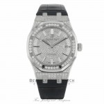 Audemars Piguet Royal Oak 37MM White Gold Diamond Pave Dial Blue Leather Strap 15452BC.ZZ.D019CR.01 2K4ZTR - Beverly Hills Watch Company
