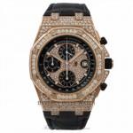 Audemars Piguet Royal Oak Offshore Chronograph Diamond Pave 42MM Black Dial Black Alligator Strap 26067OR.ZZ.D002CR.01 A72Q81 - Beverly Hills Watch Store