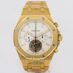 Audemars Piguet Royal Oak Tourbillon Chronograph 44mm Yellow Gold Bracelet Manual Wind Watch 25977BA.OO.1205BA.02 Beverly Hills Watch Company Watch Store