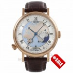 Breguet Classique Hora Mundi 43MM Rose Gold Silver Dial Brown Alligator Strap 5717br/eu/9zu - Beverly Hills Watch Store