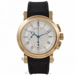 Breguet Marine Chronograph 18K Yellow Gold Case Rubber Strap Deployment Buckle Chronograph Silver Dial Watch 5827BA125ZU Beverly Hills Watch Company Watch Store