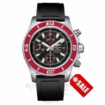 Breitling Aeromarine Superocean Chronograph II Limited Edition Stainless Steel Black Dial Red Bezel Black Rubber Strap Automatic A13341X9/BA81 WXA64W - Beverly Hills Watch Company Watch Store