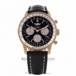 Breitling Navitimer 43MM Rose Gold Black Dial Leather Strap RB012012-BA49 ZAN9Y3 - Beverly Hills Watch Store