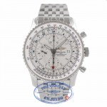 Breitling Navitimer World Stainless Steel Silver Dial A2432212/G571 Q4AUXU - Beverly Hills Watch Company Watch Store