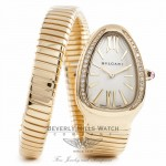 Bulgari Serpenti 18k Yellow Gold Diamond Bezel Silver Dial 1 Twirl Wrap Around SP35CGDG.1T QPJPLG - Beverly Hills Watch Company Watch Store