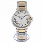 Cartier Ballon Bleu Midsize Yellow Gold Stainless Steel Silver Dial W69008Z3 R86UNP - Beverly Hills Watch Store