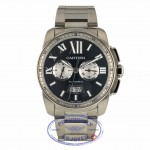 Cartier Calibre De Cartier 42mm Chronograph Black Dial Stainless Steel W7100061 2MKXMA - Beverly Hills Watch Company