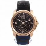 Cartier Calibre De Cartier 42MM 18k Rose Gold Chocolate Dial W7100007 LHFCAM - Beverly Hills Watch Company Watch Store