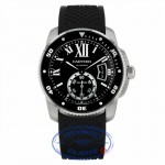 Cartier Calibre de Cartier Stainless Diver Steel Black Dial Rubber Strap W7100056 F4KYTM - Beverly Hills Watch Company
