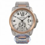 Cartier Calibre De Cartier 18k Rose Gold Stainless Steel Silver Dial W7100036 R1N8HZ - Beverly Hills Watch Company Watch Store