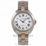 Cartier Cle De Cartier 18k Rose Gold Stainless Steel Silver Dial Bracelet W2CL0003 P0KNVU - Beverly Hills Watch Company