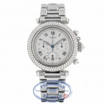 Cartier Pasha 38mm Chronograph 18k White Gold Customized Diamond Bezel R38WUH - Beverly Hills Watch Company