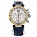 Cartier Pasha Stainless Steel Yellow Gold 38mm Chronograph Silver Dial Leather Strap 2113 H2LARH - Beverly Hills Watch Company