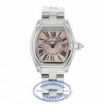 Cartier Roadster Quartz Small Stainless Steel Pink Dial W62617V3 XACQM8 - Beverly Hills Watch