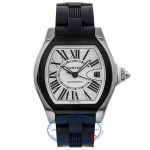 Cartier Roadster S Large Stainless Steel ADLC Coating Bezel Silver Dial Rubber Strap W6206018 PNV4UQ - Beverly Hills Watch Company Watch Store