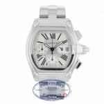 Cartier Roadster XL Stainless Steel Bracelet Silver Roman Numeral Dial W62019X6 JL32WD - Beverly Hills Watch Company
