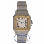 Cartier Santos Galbee Small Quartz 18k Yellow Gold Stainless Steel Silver Dial W20012C4 TVJ6KG - Beverly Hills Watch Company Watch Store