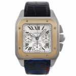 Cartier Santos XL Yellow Gold Stainless Steel Automatic Chronograph Silver Dial Black Alligator Strap W20091X7 43C7R1 - Beverly Hills Watch Company Watch Store