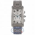 Cartier Tank Americaine Chronoflex 18k White Gold 29MM Silver Dial Bracelet W26033L1 FQDHJ7 - Beverly Hills Watch Company Watch Store