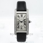 Cartier Tank Americaine Medium White Gold Diamond Bezel Ladies Watch WB702651 Beverly Hills Watch Company Watches