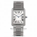 Cartier Tank Solo Large Stainless Steel Silver Dial Roman Numerals W5200014 XH5E9Q - Beverly Hills Watch Store