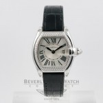 Cartier Roadster Small White Gold Diamond Bezel Ladies Watch WE500260 Beverly Hills Watch Company Watches