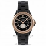 Chanel J 12 36MM Automatic Black Ceramic 18k Beige Gold Bezel & Crown Black Guilloche Dial H3842 JRAWMX - Beverly Hills Watch Company Watch Store