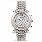 Chopard Happy Sport Chronograph Stainless Steel White Dial 7 Floating Diamonds 288267-3005 13919 - Beverly Hills Watch Company Watch Store