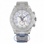 Rolex Yachtmaster II White Arabic Dial Oyster Bracelet 18k White Gold Paltinum 116689  - Beverly Hills Watch
