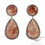 Red Agate Sliver 14k Rose Gold Diamond Earrings 2PCPS2 - Beverly Hills Jewelry Store