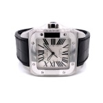 Cartier Santos 100 Large Stainless Steel Leather Strap W20073X8 MV1P1J - Beverly Hills Watch Company