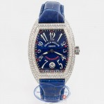 Franck Muller Conquistador White Gold Diamond Case Blue Dial Watch 80055SCD Beverly Hills Watch Company Watch Store