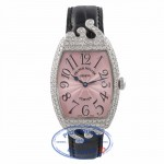 Franck Muller Ladies Curvex 18K White Gold Pink Dial Diamond Case and Bezel 7502QZDPOP 6LVF3Q - Beverly Hills Watch Store