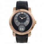 Harry Winston Midnight Big Date 42MM 18k Rose Gold Black Dial Alligator Strap MIDABD42RR002 95MLR9 - Beverly Hills Watch Company Watch Store