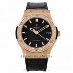 Hublot Classic Fusion 45MM 18k Rose Gold Diamond Bezel Matte Black Dial 511.PX.1180.LR.1104 3IHDB6 - Beverly Hills Watch Company Watch Store