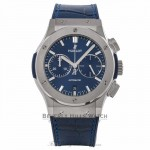 Hublot Classic Fusion Chronograph 45MM Automatic Titanium Blue Dial 521.NX.7170.LR E9ZCU5 - Beverly Hills Watch Company Watch Store
