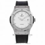 Hublot Classic Fusion Titanium 42MM Opaline Dial Black Alligator Strap 542.NX.2610.LR 6C425Q - Beverly Hills Watch Store