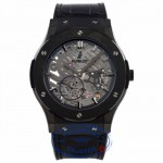Hublot Classic Fusion Ultra Thin 45MM Ceramic Titanium Skeleton Dial Black Alligator Rubber Strap 515.CM.0140.LR E5JWH7 - Beverly Hills Watch Company Watch Store