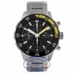 IWC Aquatimer Chronograph Stainless Steel Bracelet 44mm Case Black Dial Black/Yellow Bezel Watch IW376708 QAYE7N - Beverly Hills Watch Store