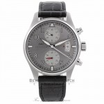 IWC Pilot Spitfire Silver Dial Chronograph Black Alligator Leather IW387809 ZF424R - Beverly Hills Watch Company