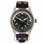 IWC Pilot Worldtimer 45MM Automatic Stainless Steel Black Dial Alligator strap IW326201 QEN62H - Beverly Hills Watch Store