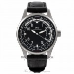 IWC Pilot Worldtimer 45MM Automatic Stainless Steel Black Dial Alligator strap IW326201 N10AAF - Beverly Hills Watch Store