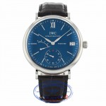 IWC Portofino 45MM Hand-Wound 8 Day Power Reserve Stainless Steel Blue Dial IW510106 02LFM8 - Beverly Hills Watch Company
