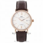 IWC Portofino 40MM Automatic 18k Rose Gold Silver Dial IW356504 TCP6E1 - Beverly Hills Watch Company Watch Store