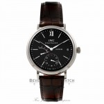 IWC Portofino Stainless Steel Alligator Strap Black Dial IW510102 YV42TQ - Beverly Hills Watch Store